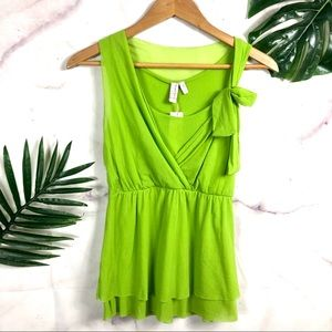 SWEET PEA Lime Green Empire V Neck Sleeveless Top